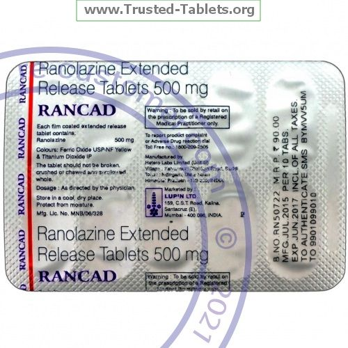 Trustedtabs Pharmacy. ranexa tablets. Uses, Side Effects, Interactions, Pictures